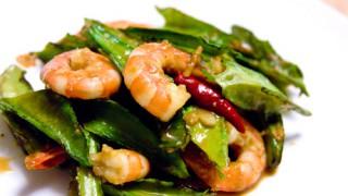 うりずん(四角豆)とエビのピリ辛味噌炒め:レシピ
